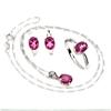 Delightful Genuine Hot Pink Topaz Earrings Necklace & Ring Set.