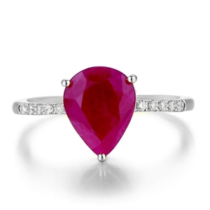 9ct White Gold, 2.93ct Ruby and Diamond