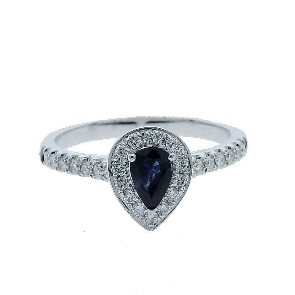 9ct White Gold, 0.75ct Blue Sapphire and Diamond Ring