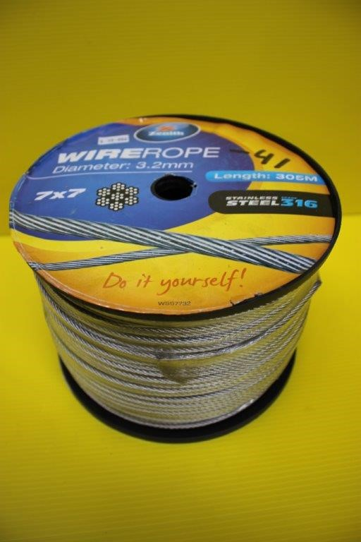 Zenith Wire Rope 3.2mm Stainless Steel 316 Length 305 Meters 7 x 7