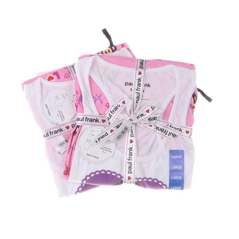 PAUL FRANK Women`s 2pc Sleepwear Set, Size L, White/Pink/Purple. Buyers Not
