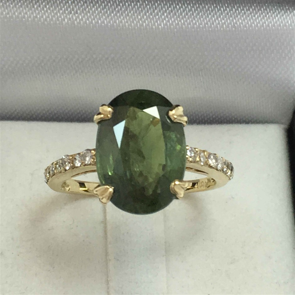 18ct Yellow Gold, 7.10ct Green Sapphire and Diamond Ring