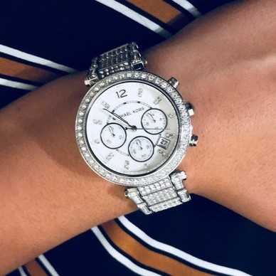 Ladies new Michael Kors NY Couture luxury dual time chronograph watch