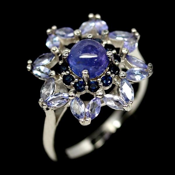 Unique Genuine Tanzanite & Sapphire Ring.