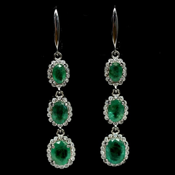 Striking Genuine Emerald Drop Earrings