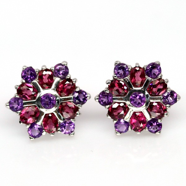 Striking Genuine Garnet & Amethyst Stud Earrings