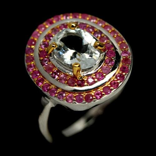 Gorgeous Genuine Aquamarine & Ruby Ring.