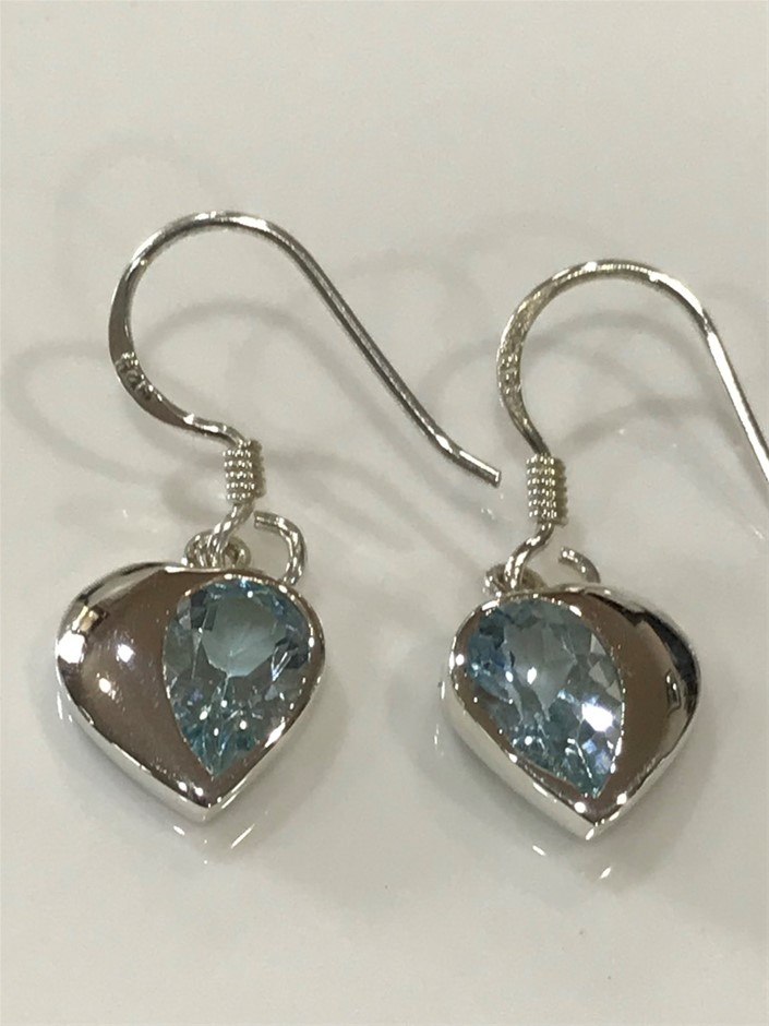Stunning Genuine 7.00ct Blue Topaz Drop Earrings