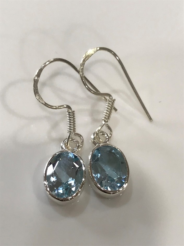 Eye Catching Blue Topaz 3.50ct Drop Earrings