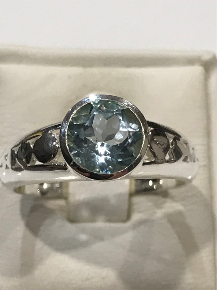 Truly Magnificent 2.50ct Blue Topaz Ring Size P 1/2 (8)