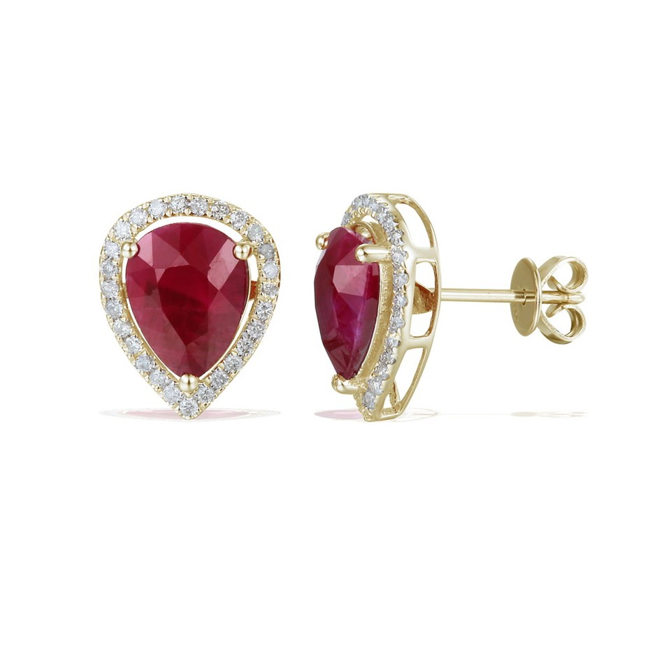 9ct Yellow Gold, 4.25ct Ruby and Diamond Earrings