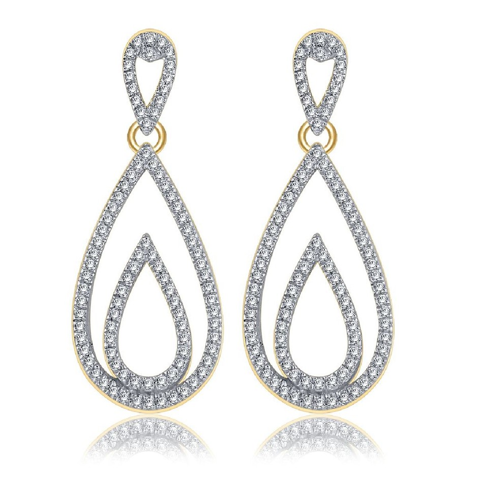 9ct Yellow Gold, 0.36ct Diamond Earrings