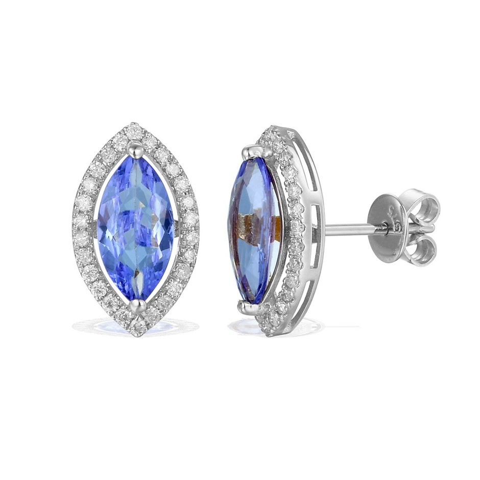 9ct White Gold, 2.17ct Tanzanite and Diamond Earrings