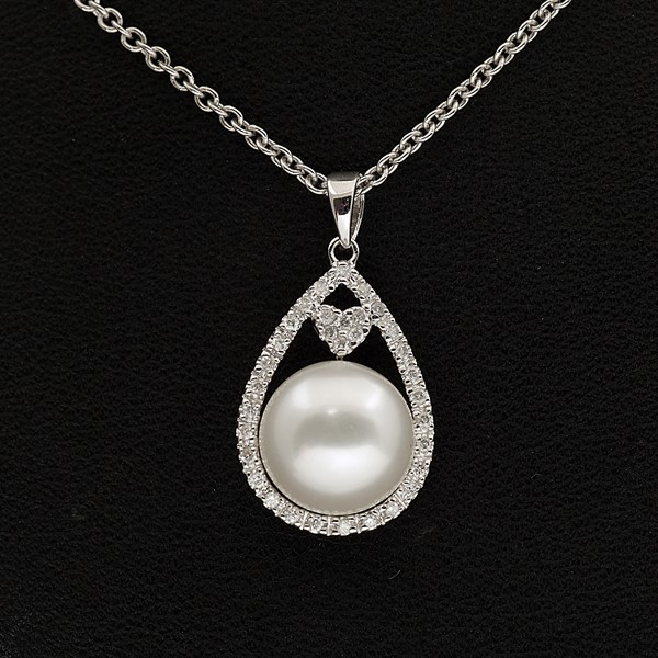 18ct White Gold, 0.19ct Freshwater Cream Pearl Pendant