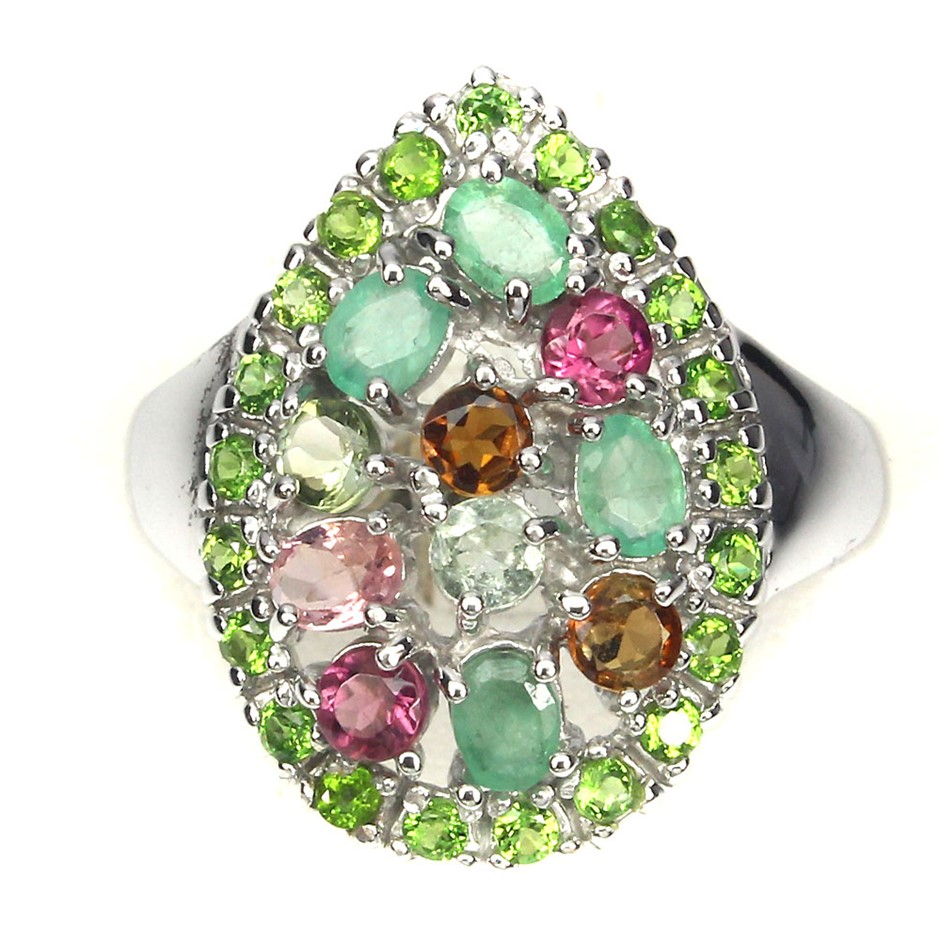 Superb Genuine Emerald Tourmaline & Chrome Diopside Ring