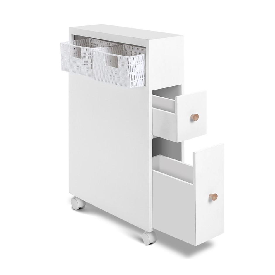 Artiss Bathroom Storage Toilet Cabinet Caddy Holder Drawer Wheels White