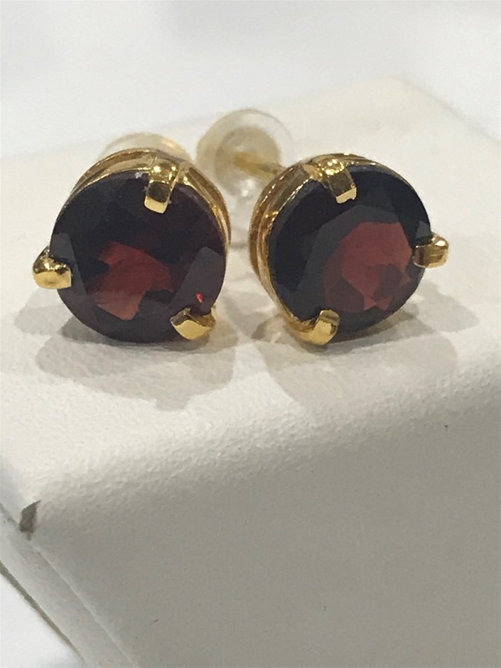 Magnificent Garnet 3.20ct & 18K Gold Vermeil Earrings