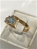 Brilliant Blue Topaz & 18K Gold Vermeil Ring. Size R 1/2  (9)