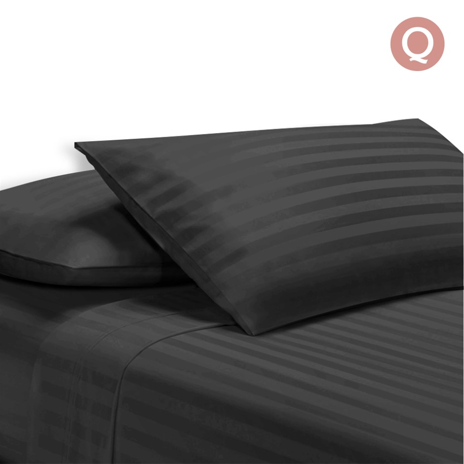 Giselle Bedding Queen Size 4 Piece Bedsheet Set - Black