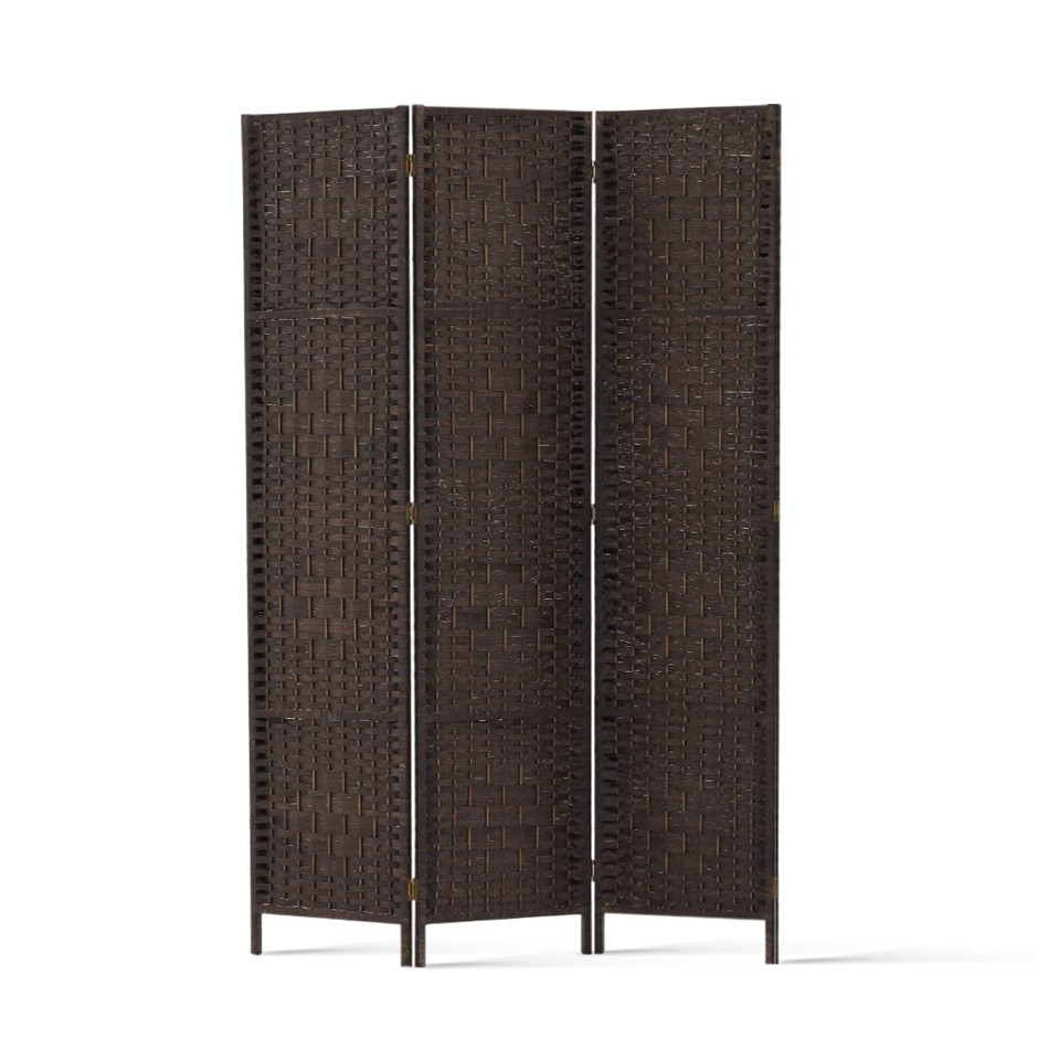 Artiss 3 Panel Room Divider Privacy Screen Rattan Frame Stand Woven Brown
