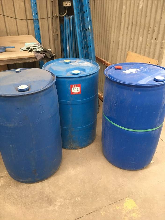 3 x Blue Plastic 200Lt containers, As Is