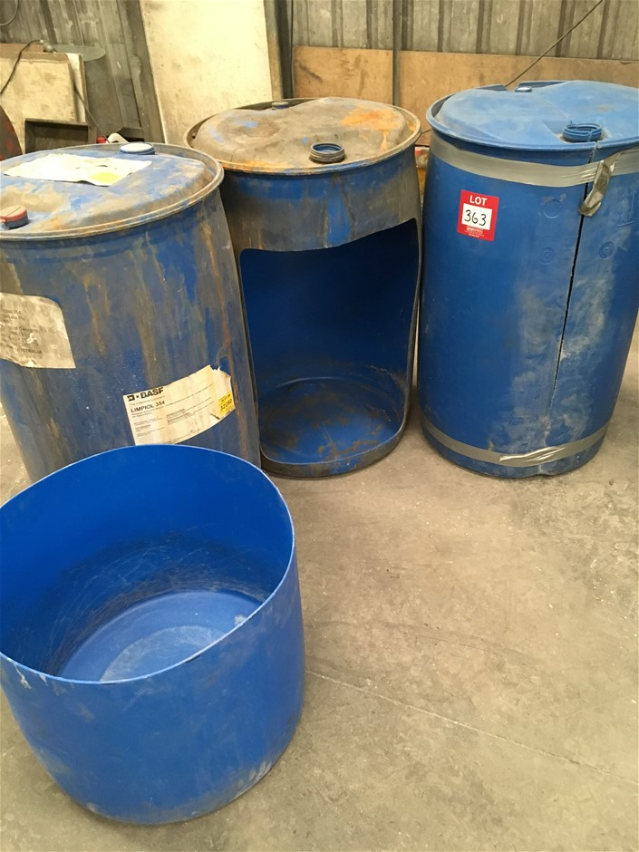 3 x Blue Plastic 200Lt, containers, As Is