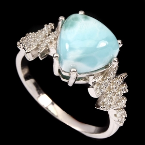 Stunning Genuine Larimar Ring.