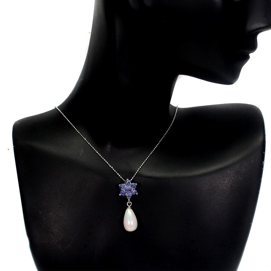 Delightful Genuine Tanzanite & Mother Of Pearl Drop Pendant Chain