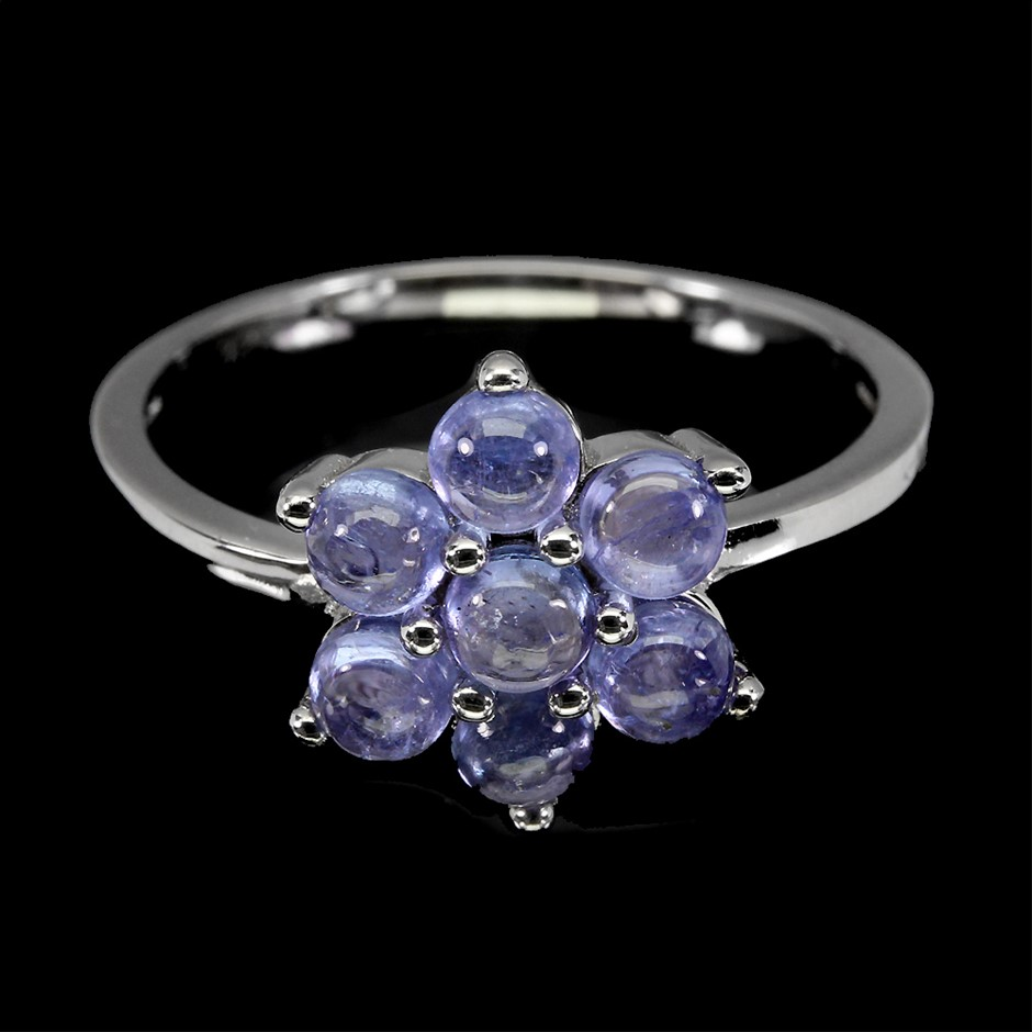Gorgeous Genuine Tanzanite Flower Ring.