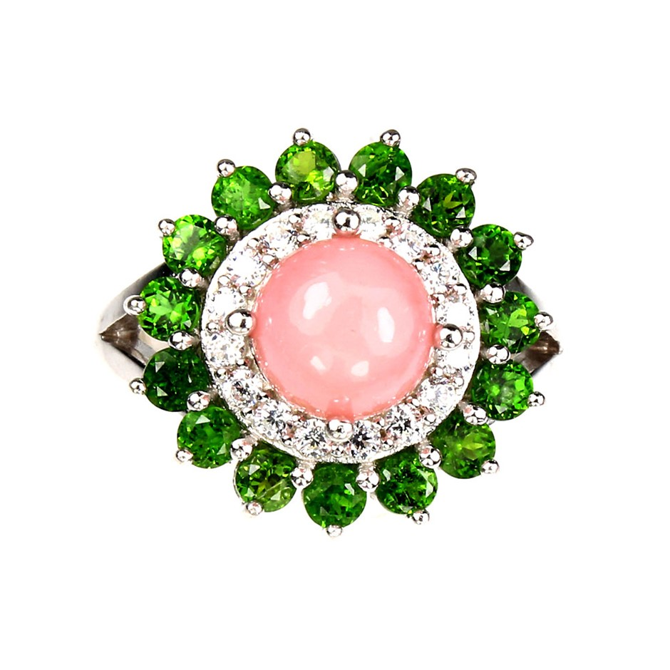 Beautiful Genuine Pink Opal & Chrome Diopside Ring.