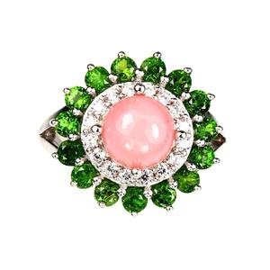 Beautiful Genuine Pink Opal & Chrome Dio
