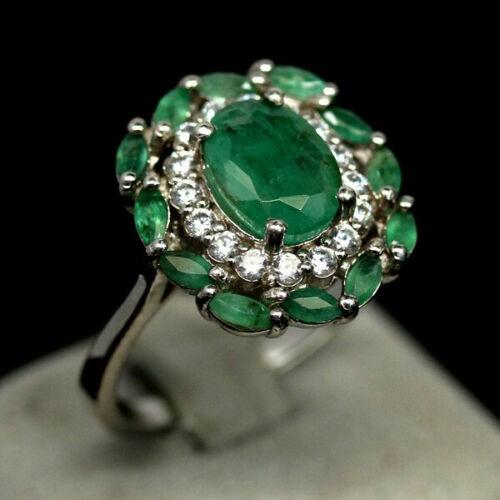 Delightful Zambian Green Emerald Ring. Size 'O'