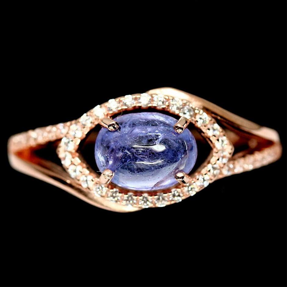 Rose Gold Blue Tanzanite Ring Size 'P'