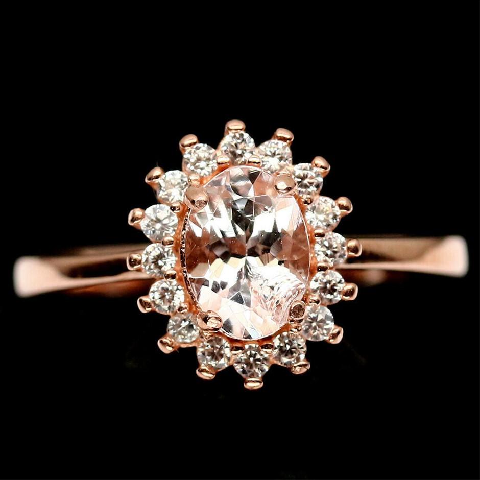 Rose Gold Pink Morganite Ring Size 'L'