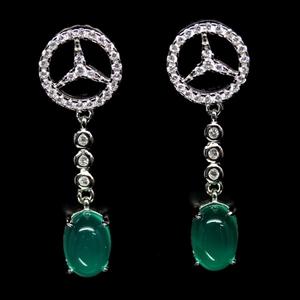 Genuine Green Agate Drop Earrings