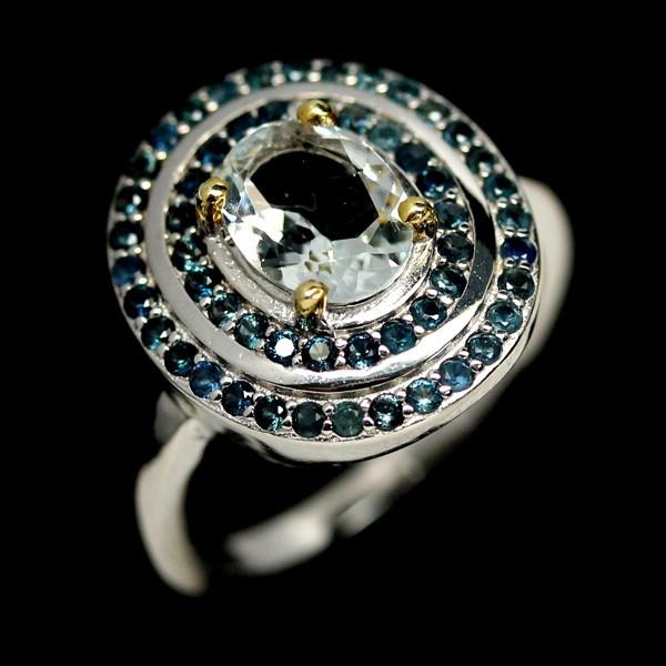 Beautiful Genuine Aquamarine & Sapphire Statement Ring.