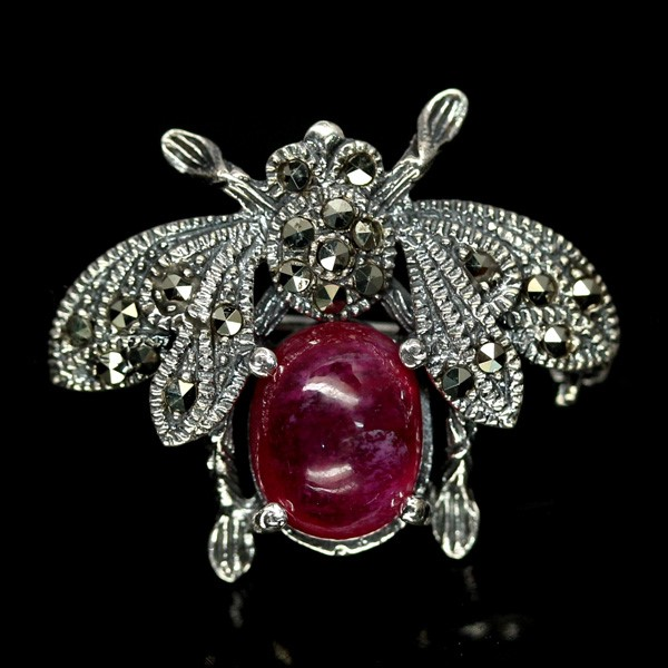 Genuine Ruby Bee Brooch / Pendant