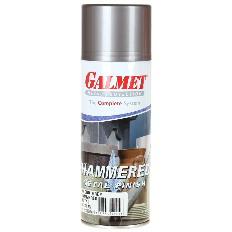 Can GALMET Metal Protection HAMMERED Spray Finish 350g, Macho Grey. Buyers