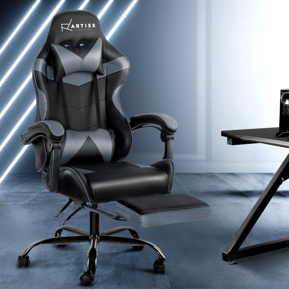 Artiss Office Chair Gaming Chair PU Leather Seat Armrest Black Grey