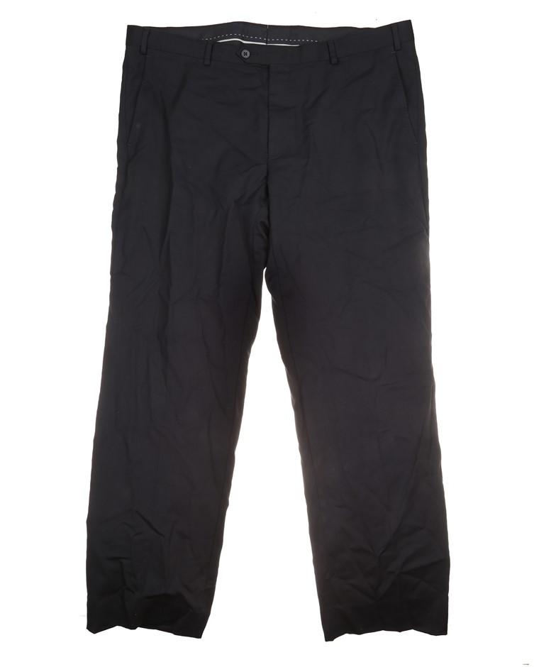 2 x Pairs Men`s SIGNATURE Flat Front Dress Pants, Size 36x32, 99% Wool, Bla