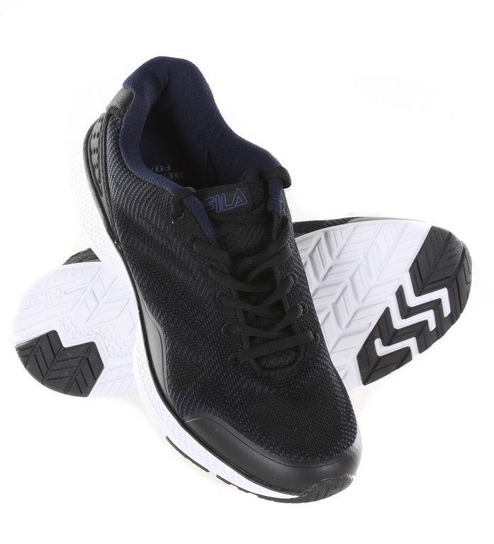 Pair Men`s FILA Memory Startup Sports Shoes, UK Size 8.5, Navy/Black/White.