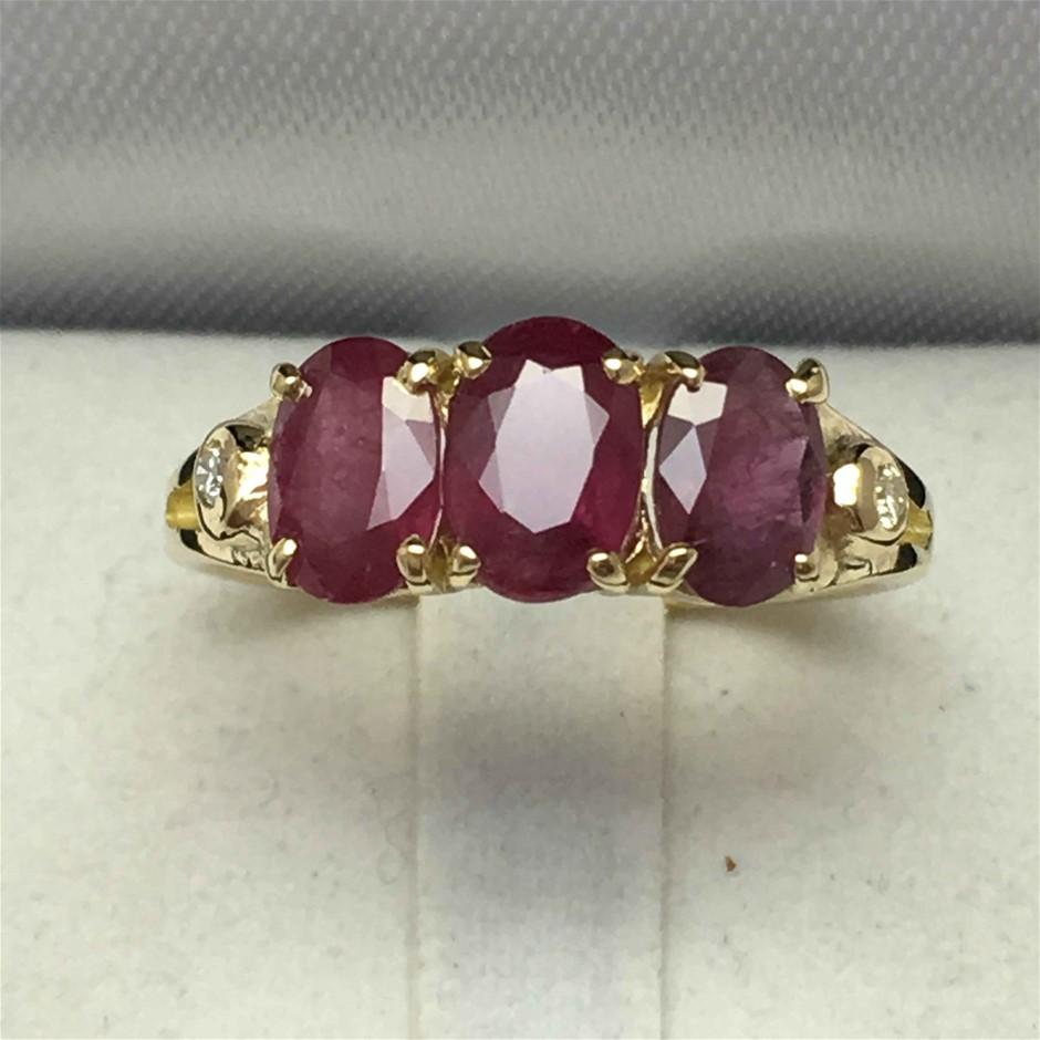 18ct Yellow Gold, 3.01ct Ruby and Diamond Ring