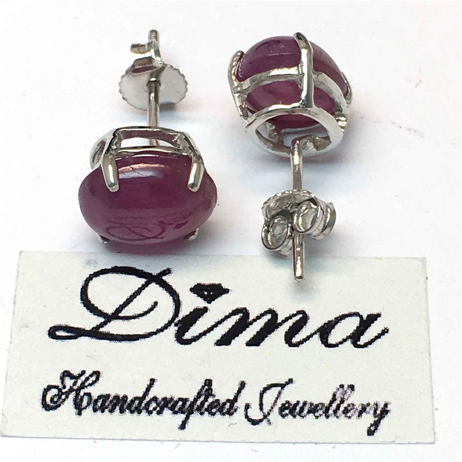 18ct White Gold, 9.94ct Ruby Earring