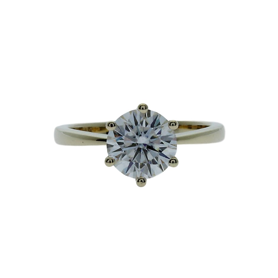 18ct Yellow Gold, 2.00ct Moissanite Ring