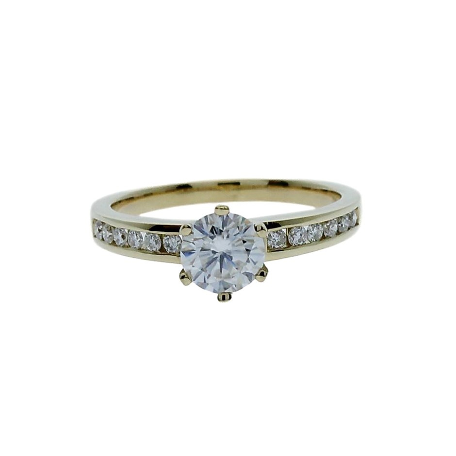 18ct Yellow Gold, 0.94ct Moissanite and Diamond Engagement Ring
