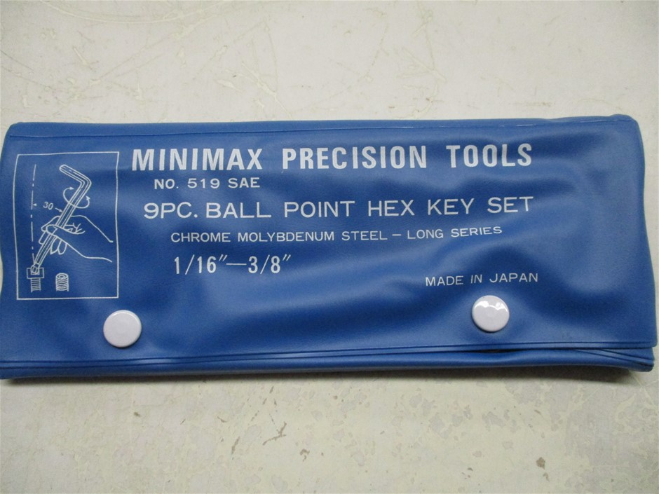 1x Carton of Minimax 9 Piece Imperial Ball Point Hex Key Sets