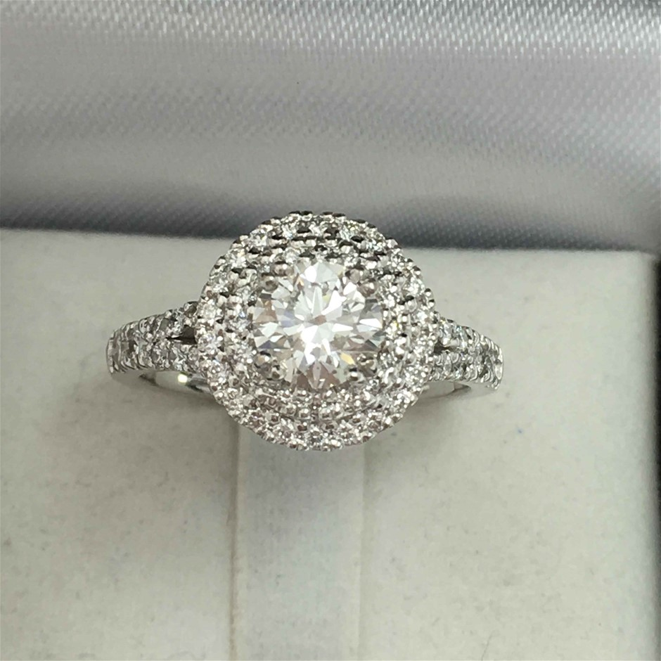 18ct White Gold, 1.36ct GIA Diamond Engagement Ring