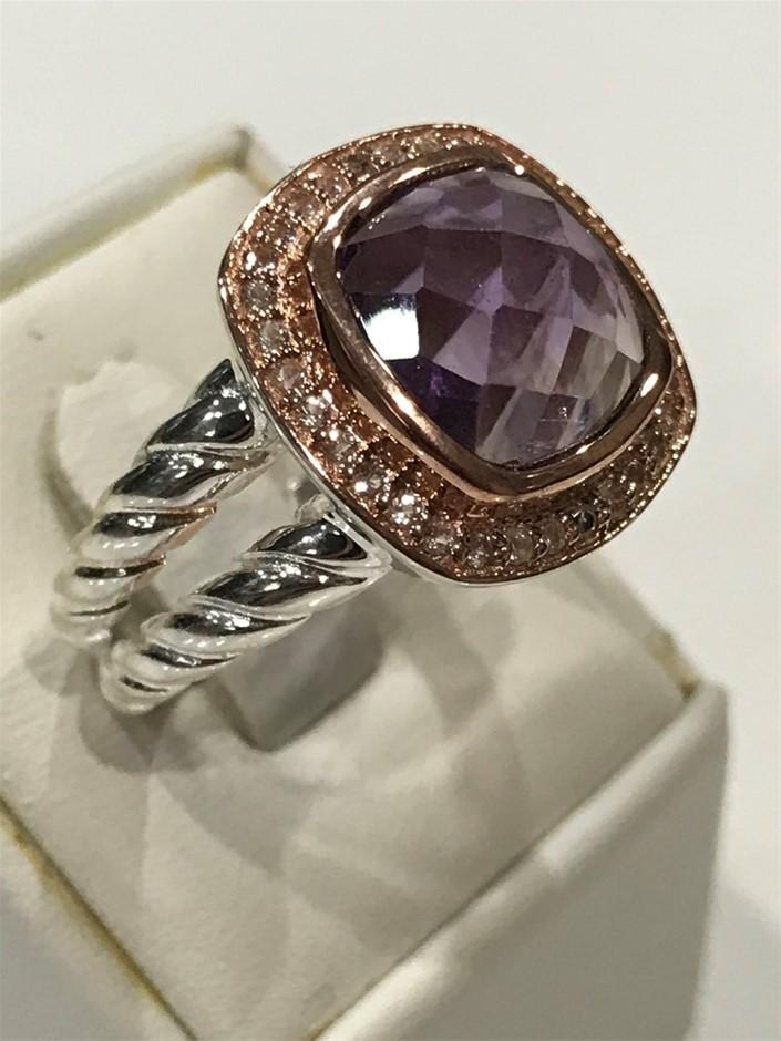 Lovely Amethyst Ring 18K Rose/White Gold Vermeil Size P 1/2 (8)