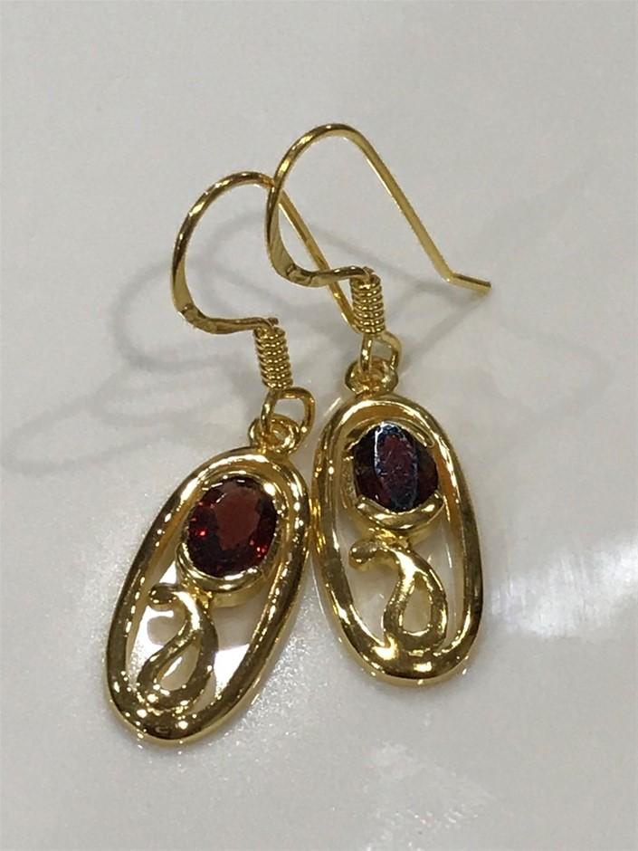 Stunning Garnet & 18K Gold Vermeil Drop Earrings