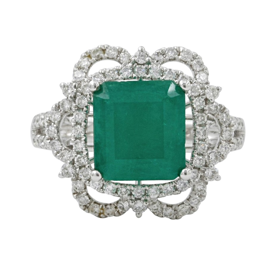 9ct White Gold, 3.34ct Emerald and Diamond Ring